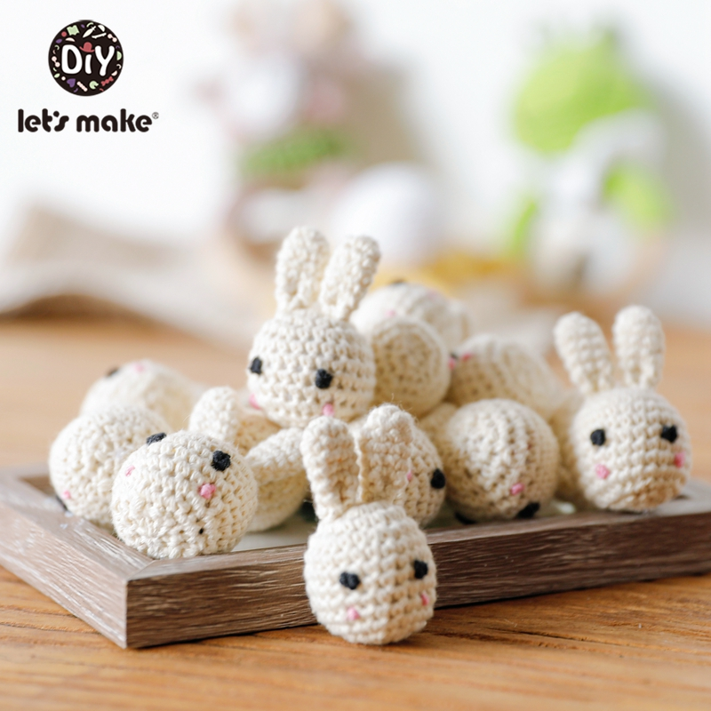 Let's Make 1pc Animal Crochet Round Wooden Beads Crochet Wooden Teether Decoration Wooden Teething Crochet Beads Baby Teether
