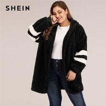 SHEIN Plus Size Varsity Striped Hooded Teddy Coat Women Autumn Winter Casual Plus Colorblock Flannel Outwear Long Coats