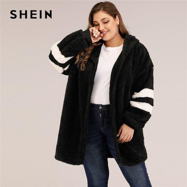 SHEIN artı boyutu Varsity çizgili kapşonlu oyuncak ceket kadınlar sonbahar kış rahat artı Colorblock flanel dış giyim uzun palto