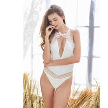 White sexy lace jumpsuit woman halter perspective lace lace backless shorts bodysuit sexy sleepwear ML low cut lace halter backless teddy
