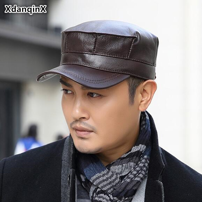 XdanqinX Men's Genuine Leather Hat 2019 Autumn New Cowhide Flat Cap Army Military Hats Middle-aged Classic Warm Earmuffs Caps