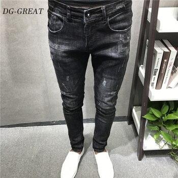 Men Vintage Streetwear Hip Hop Ripped Biker Jeans Destroyed Frayed Men Motorcycle Joggers Skinny Denim Pants Men Fashion Jeans