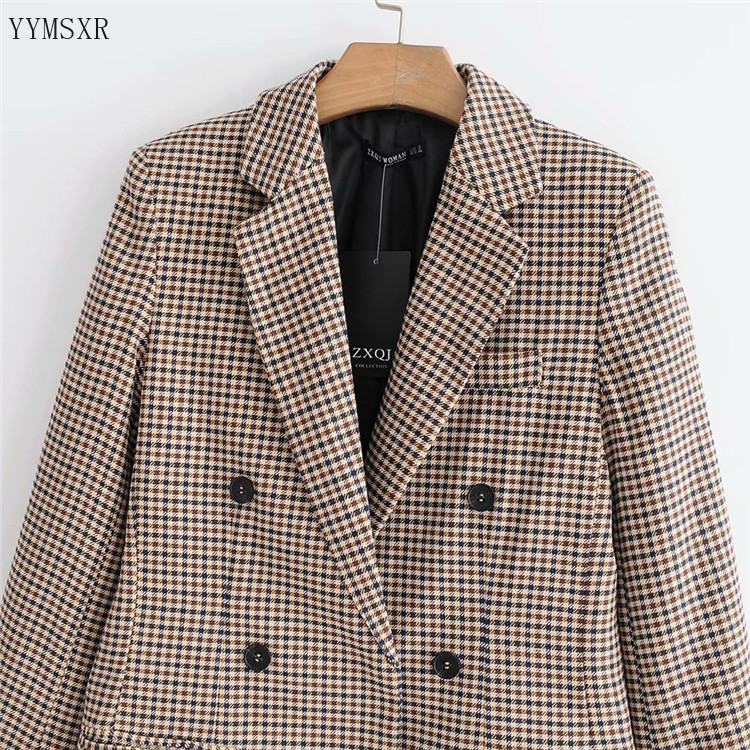 Women's High Quality Fabric Jacket Feminine 2020 new retro double-breasted loose plaid ladies blazer coat Women's small suit