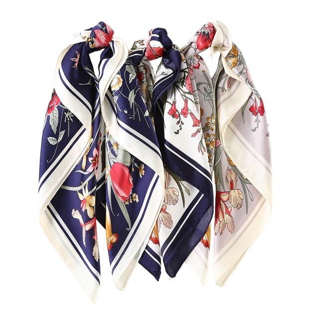 AWAYTR Square Silk scarf 60*60cm Headband hairbands Hair Hoop Accessories For Women Girl Lady Head Neck Satin Scarf Handkerchief 6