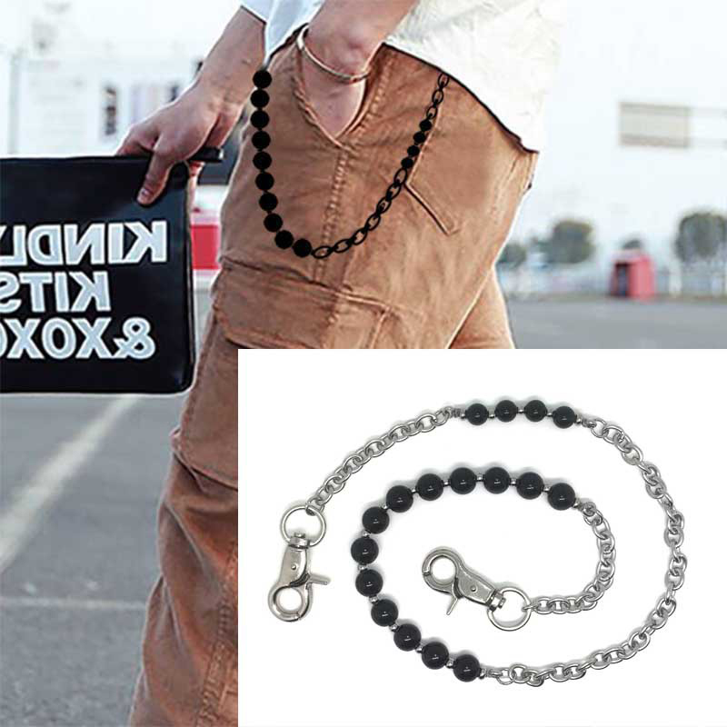 Mens Jewelry Natural Stone Metal Rock Punk Trousers Hipster Pant Jean Keychain Hip Hop Stainless Steel Wallet Belt Chain Keyring