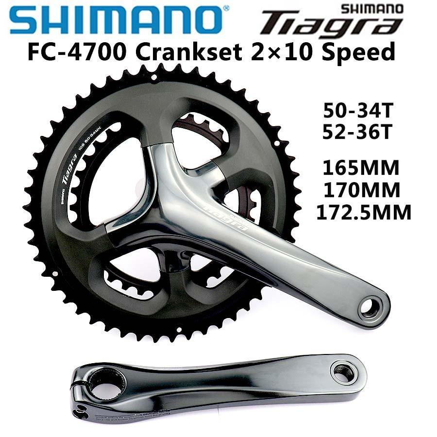 NEW Shimano Tiagra FC-4700 Crankset 172.5 mm 2 x 10 Speed Black 52 x 36t