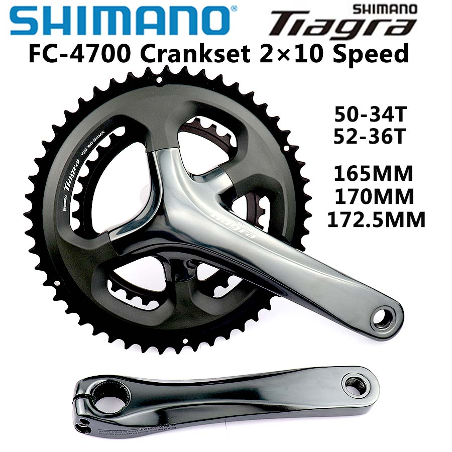 Shimano <font><b>Tiagra</b></font> FC 4700 HOLLOWTECH II CRANKSET 10 Speed 170mm/172.5mm 50-34T Crankset Road Bike 2x10-Speed Bicycle Parts image