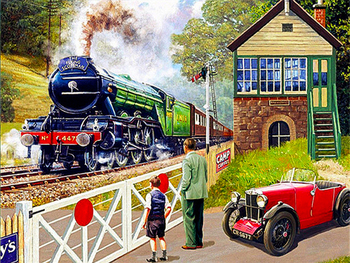 Paint By Numbers Kit Age Of Steam Flying Scotsman Railway Crossing Steam Train