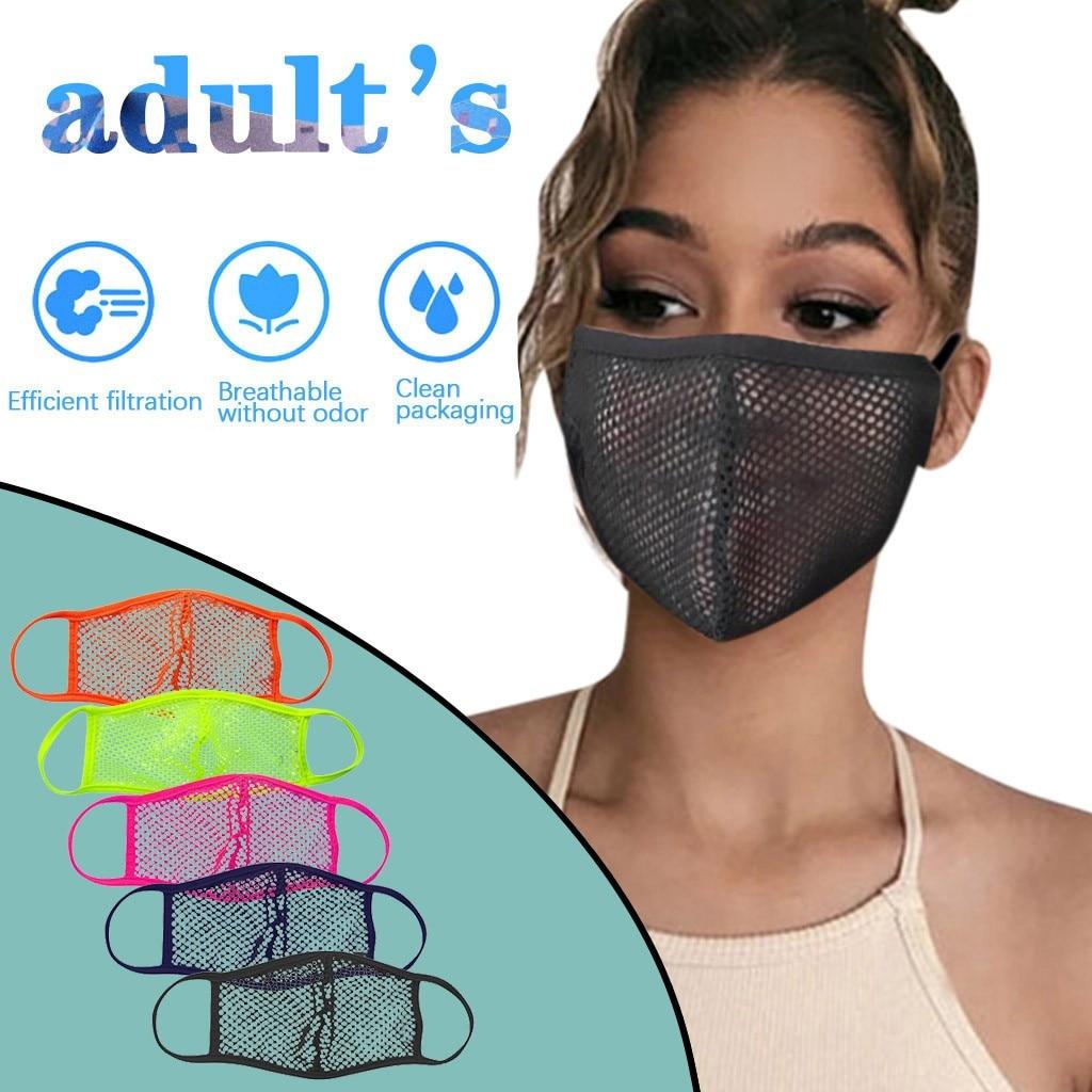 Маска для рта моющаяся унисекс, пикантная сетчатая дышащая многоразовая Защитная черная, 1 шт.
