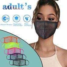 Mascarilla facial lavable Unisex, máscara de protección facial negra, transpirable, con malla hueca, protectora, multiusos, 1 unidad