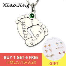 XiaoJing 925 Sterling Silver personalized Baby Feet with Birthstone Custom Engraved Name&Date Pendant Necklace for Gift