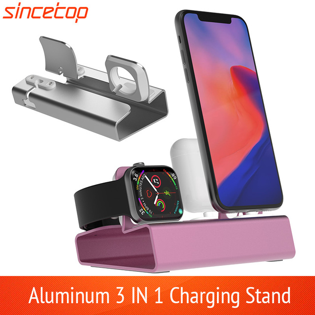 อลูมิเนียม3in 1แท่นชาร์จสำหรับiPhone 11 Pro XR XSMax 8 7 6สำหรับAppleนาฬิกาAirpods Charger Holder mount PDแท่นวาง