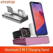 Aluminiowa stacja dokująca 3 w 1 dla iPhone 11 Pro XR XSMax 8 7 6 dla Apple Watch Airpods ładowarka uchwyt do montażu PD stojak stacja dokująca