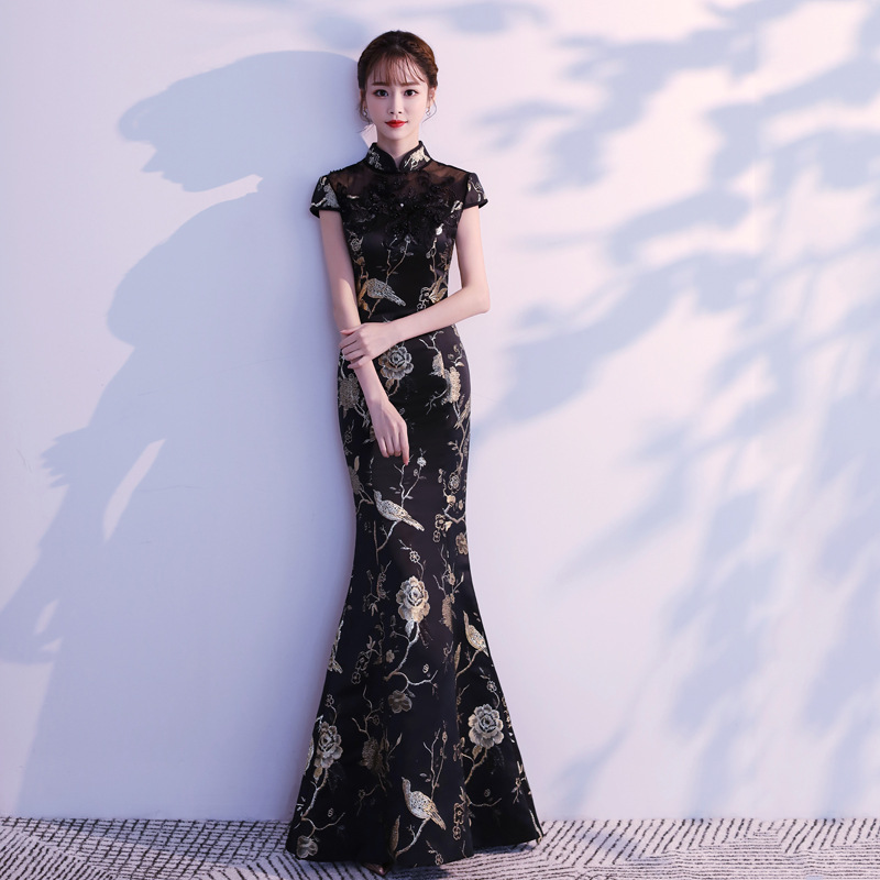 Bridesmaid Dress Fashion Black Qipao Long Party Cheongsam Oriental Women's Slim Dress Chinese Style Lady Sexy Seductive Dress