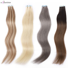 S-noilite 16Inch 2.5g/pc Remy Tape In Hair Extensions Straight Human Hair Seamless Invisible Double Sides Glue In Hair Extension