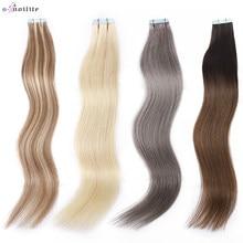 S-noilite 16 Polegada 2.5 g/pc remy fita em extensões de cabelo humano em linha reta sem emenda invisível lados dobro cola na extensão do cabelo