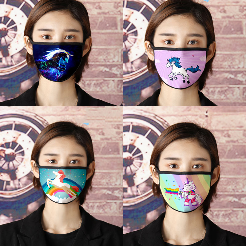 Reusable Girls Gym Facemask Cute Unicorn Cotton Face Mask Colorful Unicorn Masker Cartoon Cosplay Mask Kawaii Maska Anti-dust