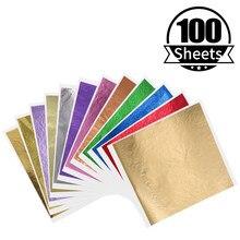 100 шт Красочные Золотые листы лист золотая фольга бумага в искусстве и ремесле золочение мебельный гвоздь украшение картина Potal 13X13.5cm