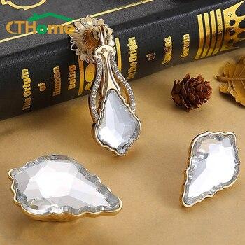 цена на CTHome Crystal Glass Knobs Cupboard Drawer Pull Kitchen Cabinet Door Wardrobe Furniture Dresser Handles Hardware Single hole