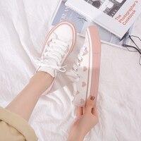 2019 QWEDF femmes coréennes automne blanc chaussures chaussures plates femmes blanc baskets vintage toile chaussures Schoenen X3-87