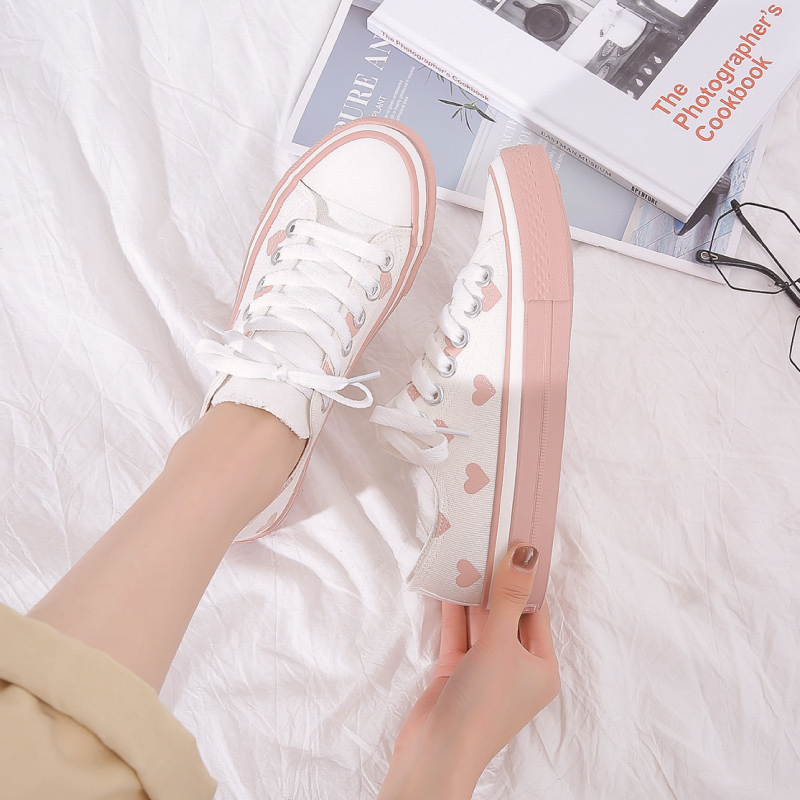 2019 QWEDF Korean Women's Autumn White Shoes Flat Shoes Women's White Sneakers Vintage Canvas Shoes Canvas Schoenen X3-87