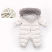 -30 Degree Infant Baby Rompers Real Fur Collar Duck Down Filling Kids Baby Snowsuit Thick Warm Toddler Boys Girls Down Jumpsuit