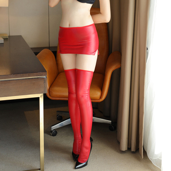 [Wanna turn your husband on? Let's try this, girl!]  Sexy Pu stockings and short skirt two piece set Woman erotic club outfits 1
