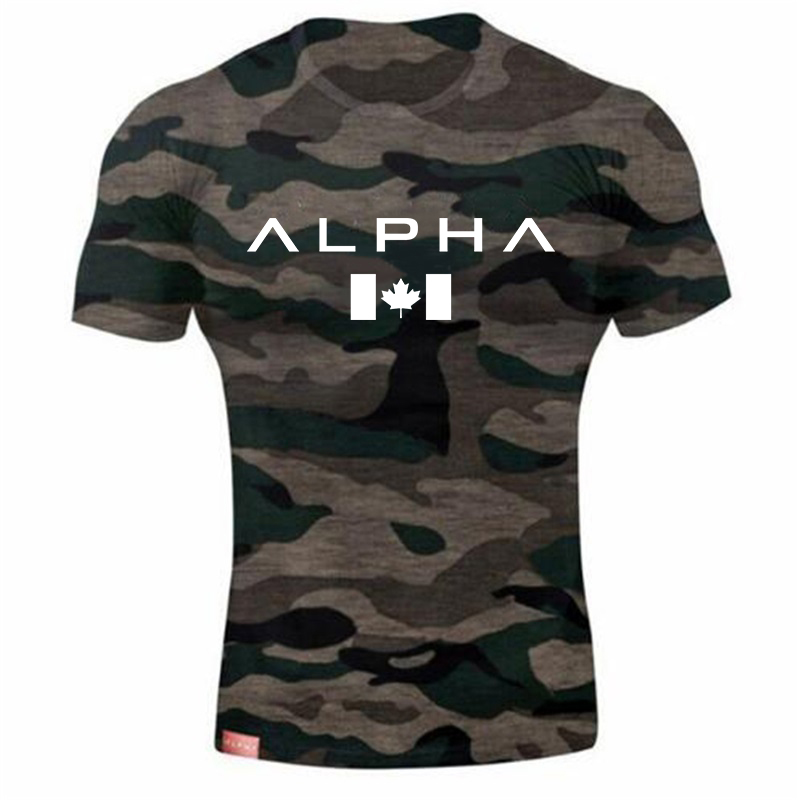 ALPHA New Fashion Gyms Bodybuilding Sporting T-shirts Men Short Sleeve Fitness Men's Solid High Quality T-shirts