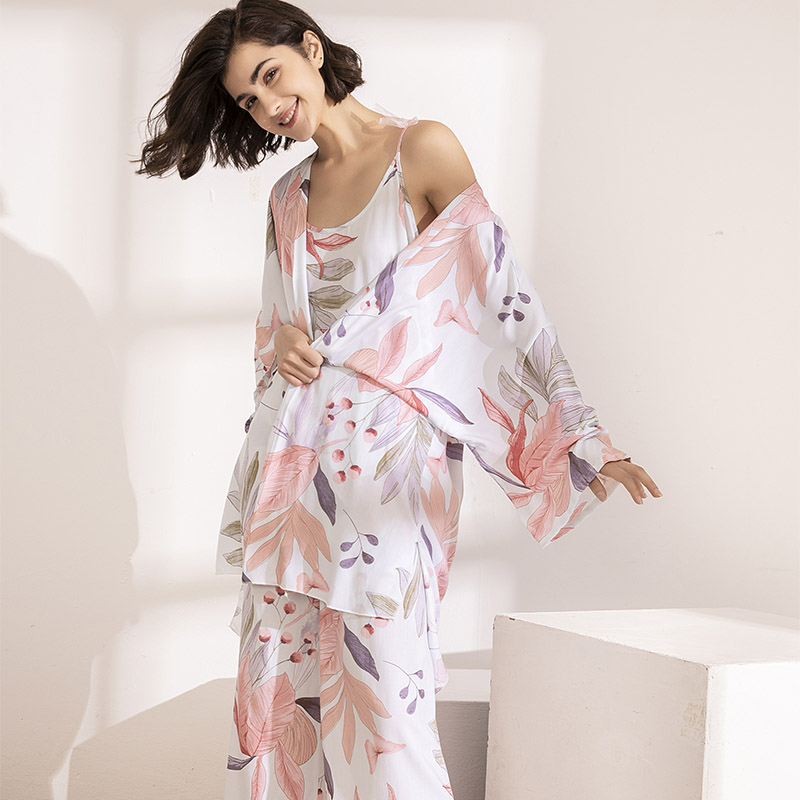 HOT SELLING 3Pcs Soft Pajama Set For SPRING & FALL Ladies Sleepwear Floral Printed  Pink Leaves Cardigan+Camisole+Pants Homewear