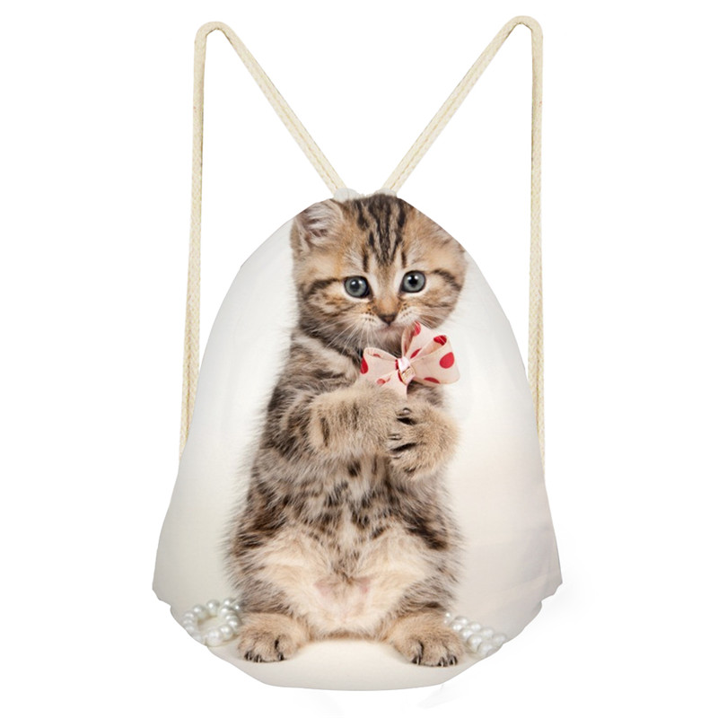 Fashion Drawstring Bag Off White Bag New 3D Naughty Cat Pattern Draw Pocket Shift For Shoes To School For Girls Boys Drop Ship
