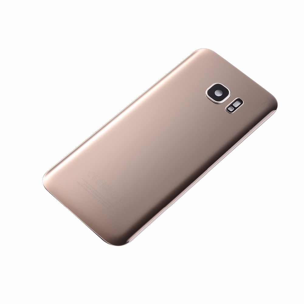 Para Samsung S7 G930 G930F S7 Edge G935 G935F cubierta trasera de cristal de la batería cubierta de la Lente de la Cámara + pegatina