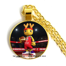 Best souvenir for friends from the mascot of the 2019 basketball World Cup,'Son of Dream', Necklace glass 25MM Pendant YAN(China)