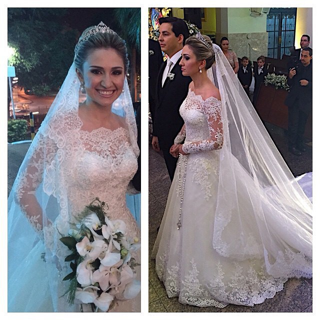 2016 Vestido De Noiva Boat Neck Long Sleeves Lace Wedding Dress Long Train A Line Vintage Wedding Dress