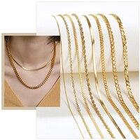 Minimalistischen Seil Kette Edelstahl Halsreif Halsketten für Frauen 1-5MM Gold-Ton Metall Täglichen Tragen Aussage Kragen schmuck