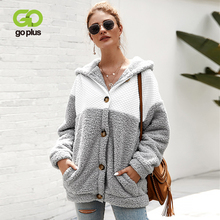 GOPLUS Faux Fur Fluffy Sweatshirt Patchwork Hoodies Single Breasted Long Sleeve Oversize Pullovers 2019 Autumn Winter Streetwear Sudadera Mujer