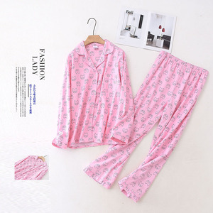 Image 5 - 100% Cotton Pyjamas Women Pajamas Sets Autumn Brushed Winter Warm Cute Cartoon Sleepwear Pijamas Mujer Pyjamas Womens Clothing