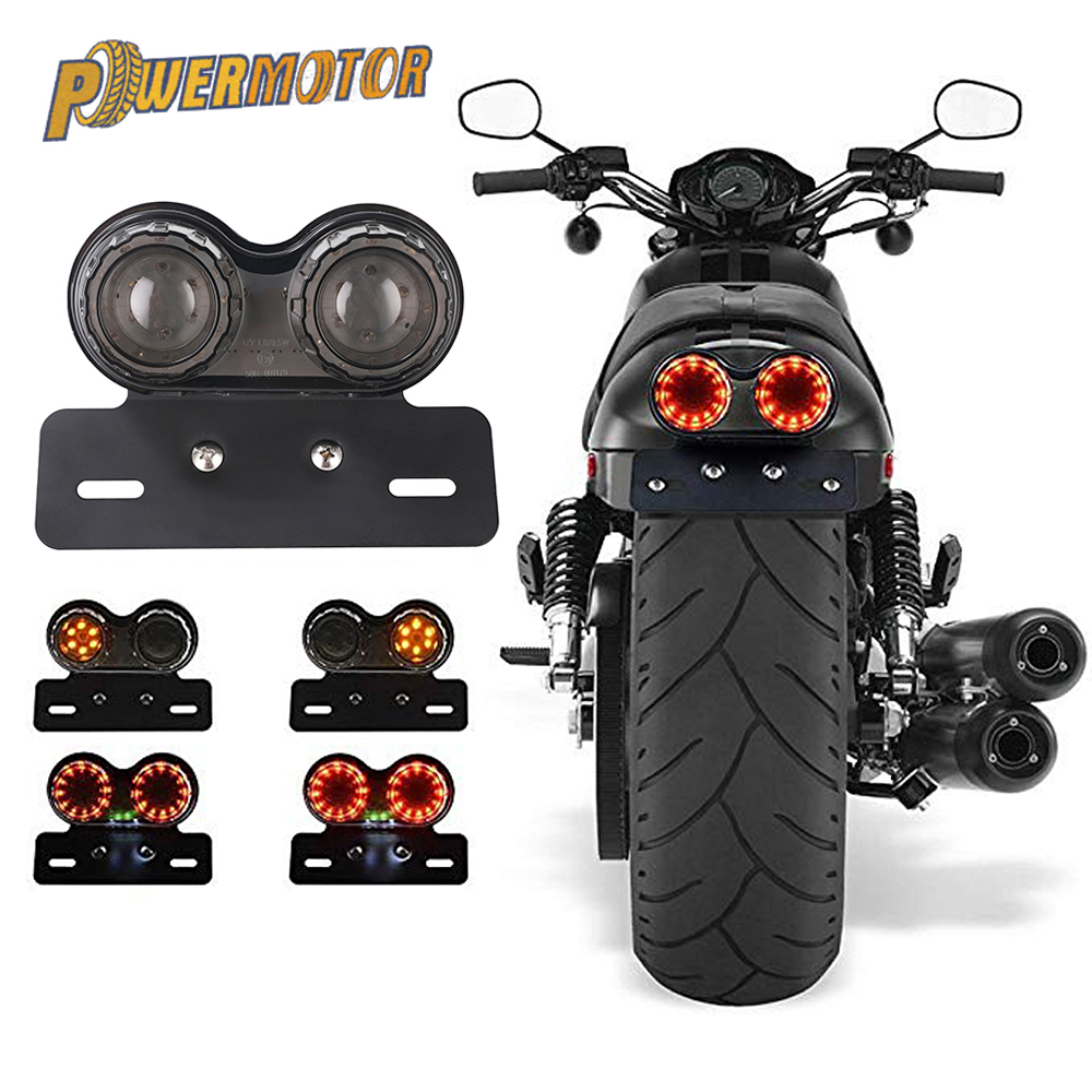 12V Universal Motorcycle Signal Lights Twin Dual Motorbike Taillight Rear Lamp LED Integrated Tail Light Twin Light License Plat