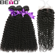Beyo Kinky Curly Hair Bundles With Closure Brazilian Hair Weave Bundles With Closure Human Hair 3 Bundles With Closure Non Remy