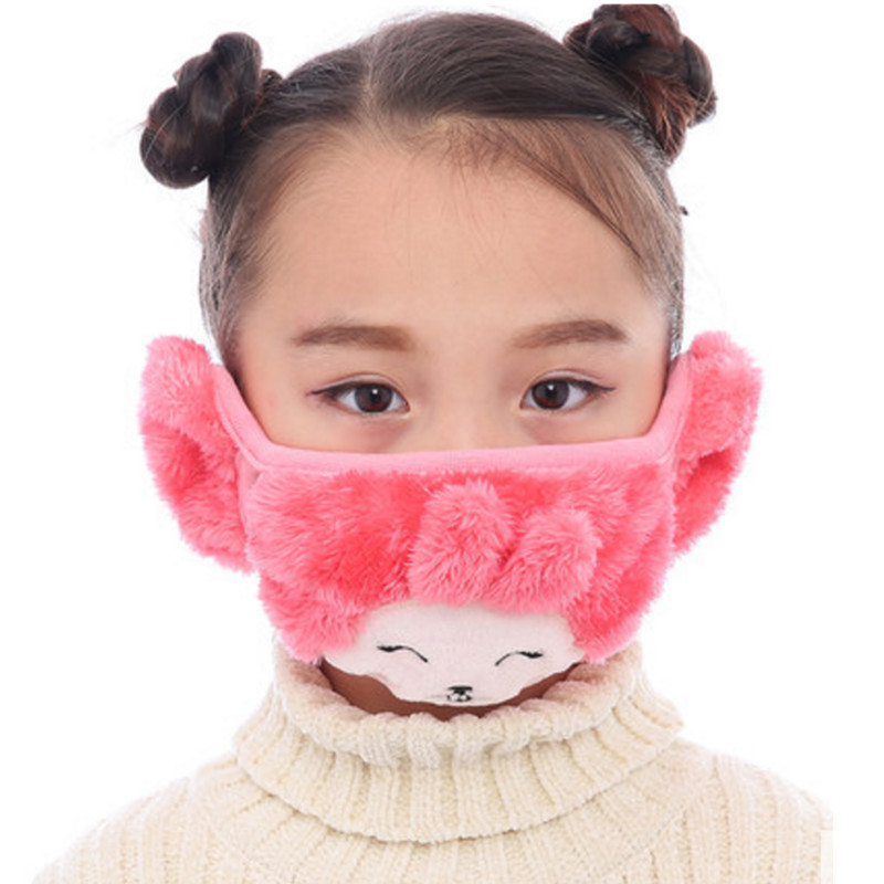 5-9 Years Old Child Cotton Masks Boys Girl Kids Ear Muffs Cartoon Mouth Mask Cute Winter Warmers Velvet AD0692