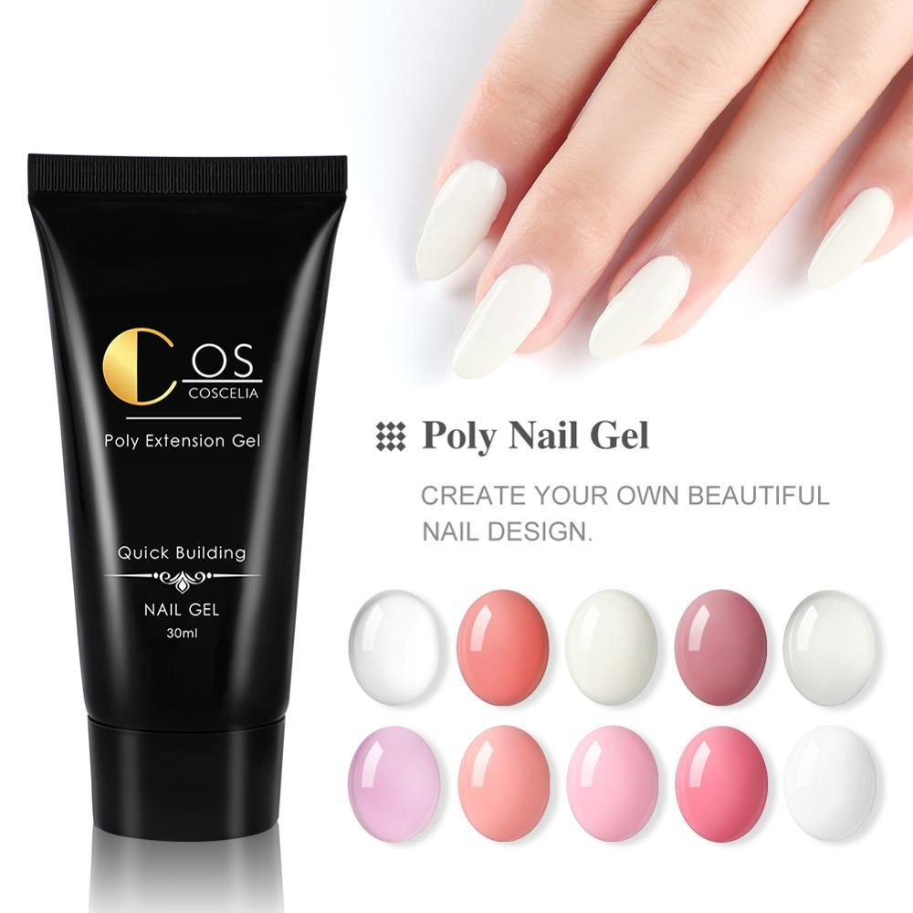 COSCELIA Poly Gel Nail Acrylic Pink White Clear Crystal UV LED Builder Gel Tips Enhancement Slip Solution Quick Extension Gel