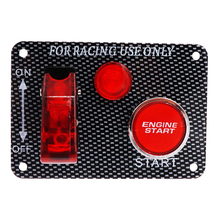 2 in 1 Racing Car Toggle Ignition Switch Panel 12V Engine Start Starter Push Button With Red LED Carbon Fiber Car Switch 100%New
