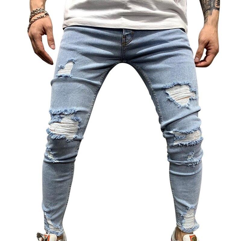 Мужские рваные джинсы для мужчин, повседневные Черные синие обтягивающие облегающие джинсовые штаны, байкерские джинсы в стиле хип-хоп с сексуальными дырками, джинсовые штаны - Цвет: blue6