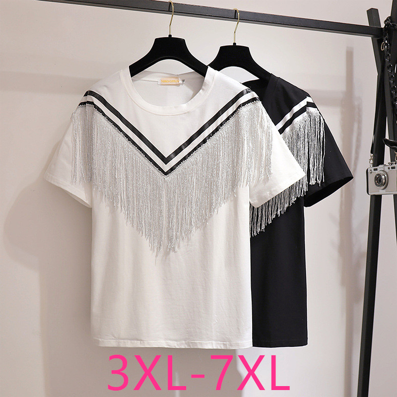 New 2020 Summer Plus Size Tops For Women Large Loose Casual Short Sleeve Cotton White Stripe Tassels T-shirt 3XL 4XL 5XL 6XL 7XL