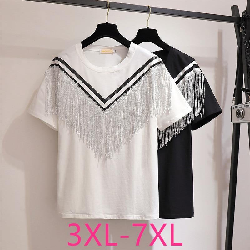 New 2020 Summer Plus Size Tops For Women Large Loose Casual Short Sleeve Cotton White Stripe Tassels T-shirt 3XL 4XL 5XL 6XL 7XL