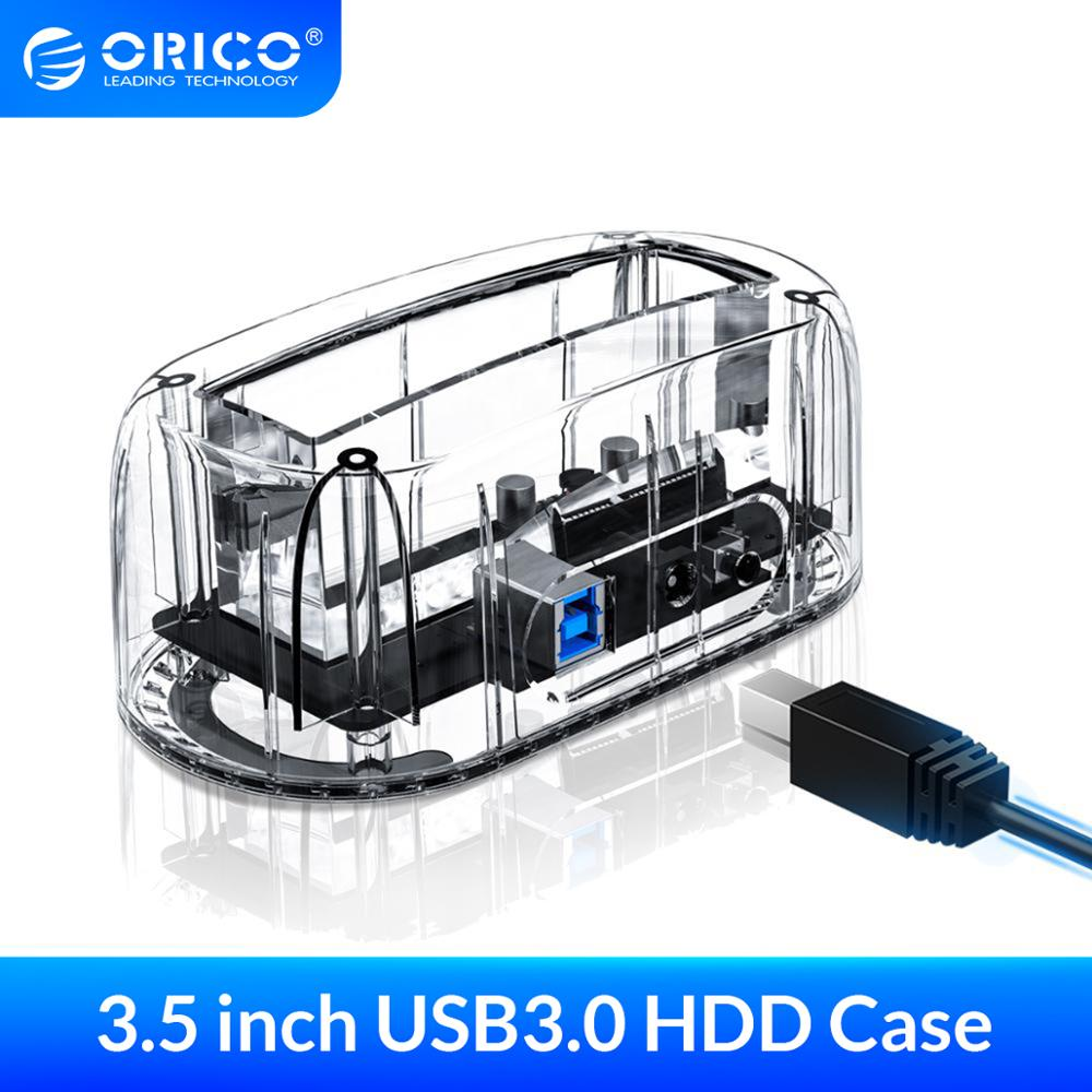 ORICO 2 5inch3 5inch Transparent Design USB3 0 to SATA3 0 HDD Docking Station Support 8 TB Hard Disk Drive Tool Free for Notebook PC