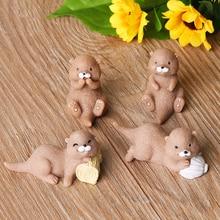 Fairy Garden Bonsai-Ornament Dollhouse Figurine Animal-Model Miniature Otters Water-Dog-Craft