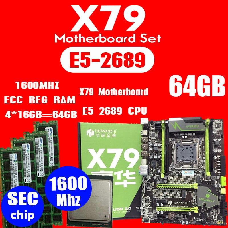 HUANANZHI X79 motherboard LGA2011 ATX combos E5 2689 CPU 4pcs x 16GB 64GB DDR3 RAM 1600Mhz
