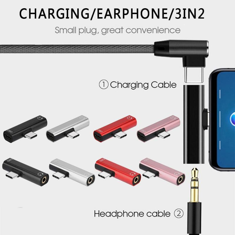 Type C To Type-C 3.5mm Aux Audio Charge Adapter For Xiaomi Huawei 2 In 1 Type C To 3.5 Mm Charger Headphone Adapter  TSLM1
