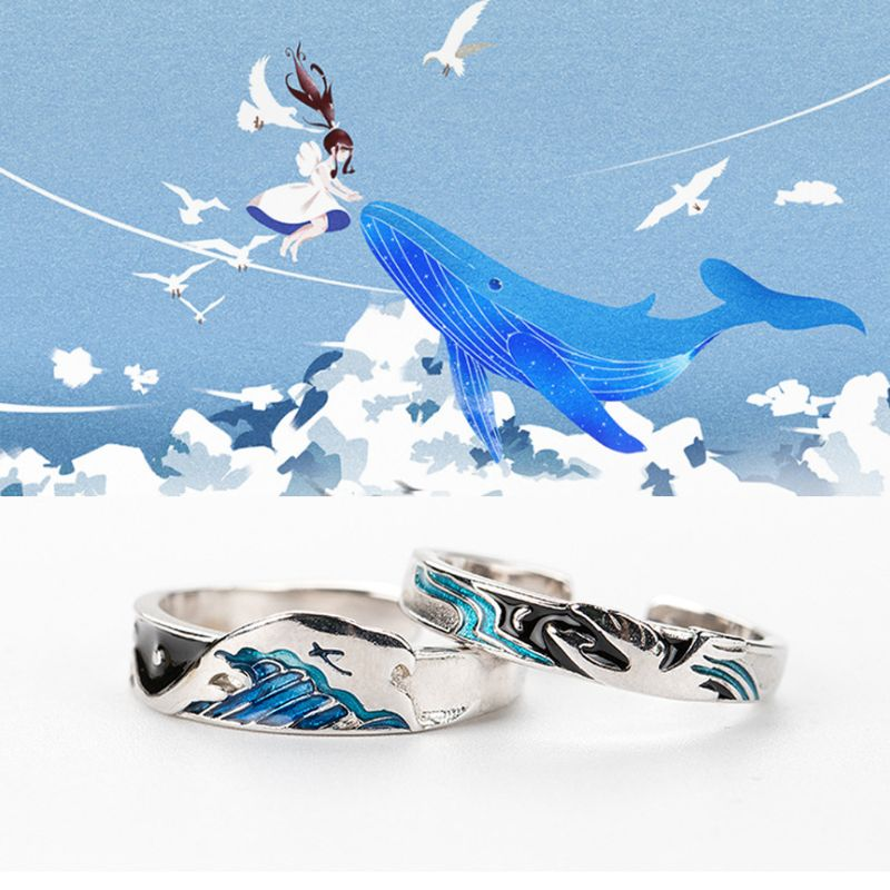 2Pcs Flying Birds and Deep Fish Distand Lover Rings Set Kiss Miss Deep Love Couple Rings Valentine's Day Jewelry Gift image