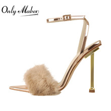 High-Sandals Metal-Heel Pink Big-Size Fashion Gold Onlymaker Fur Artificial-Fur Thin